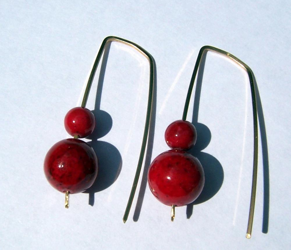 Red Genuine Coral Modern Style Earrings 14 k Gold-filled - Free shipping