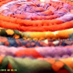 10 inch mat, trivit, hot pad, centerpiece in Purple, Orange, Yellow, Green and Blue