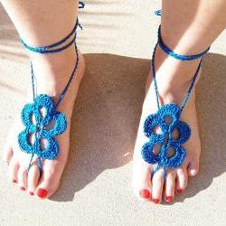 Barefoot Sandals Tourquoise Crochet, Beach wear, Nude shoes, Foot jewelry, Wedding, Victorian, Lace, Sexy, Yoga, Pool