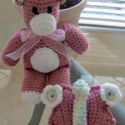 Teddy Bear and Butterfly 11 inch tall Pink Crochet