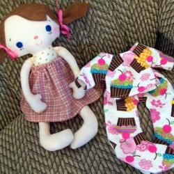 Mae Girl Doll with Pigtails, Bows and Pink Skirt includes Cupcake Flannel 2 piece PJ&#039;s