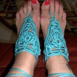 Barefoot Sandals or Fingerless Gloves - Turquoise Crochet, Beach wear, Foot jewelry, Wedding, Victorian, Lace, Sexy, Yoga, Pool