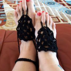 Barefoot Sandals or Fingerless Gloves - Black Crochet, Beach wear, Nude shoes, Foot jewelry, Wedding, Victorian, Lace, Sexy, Yoga, Pool