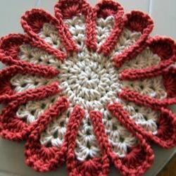 Chrysanthemum Dishcloth or Hotpad - Terricotta