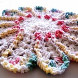 Chrysanthemum Dishcloth or Hotpad - Hot Pink